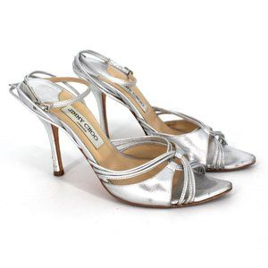 Jimmy Choo Silver Strappy Sandals 38
